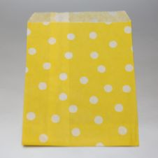 White dots yellow Party bitty bags Set of 25/ Άσπρο πουά κίτρινα χαρτινα σακουλακια Σετ των 25